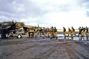 P-38E Lightning fighter pilots prepare for a mission at Adak, Alaska in 1942, from the film, Report from the Aleutians.