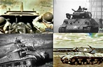 Photos of M-10 tank destroyers in training at Fort hood Texas, an M4 Sherman tank fighting with the 10th Armored Division at the Battle of the Bulge, and an m3 Grant tank in action early in World War 2