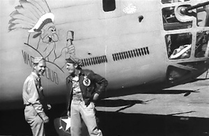 Photo of crew members of the Consolidated B-24 Liberator bomber War Cloud, 98th Bomb Group, based  in Benghazi, Libya, taken shortly before the Ploesti Raid in World War 2.