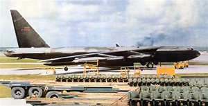 Color photo of Boeing B-52D Stratofortress bomber, part of the 4258th Strategic Wing, based in U Tapao, Thailand during operation Arc Light in the Vietnam War.