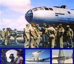 World War 2 color photos of Boeing B-29 Superfortress bombers and their crews and North American P-51 Mustangs fighters operating from Tinian and Saipan  against Japan in World War 2,  as shown in the films The Last Bomb and Saipan Superforts