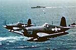 Color photo taken during World War 2 of  Vought F4U Corsairs in flight